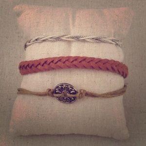 Jewelry - Lot Of 3 Boho Layering Bracelets Cognac Brown